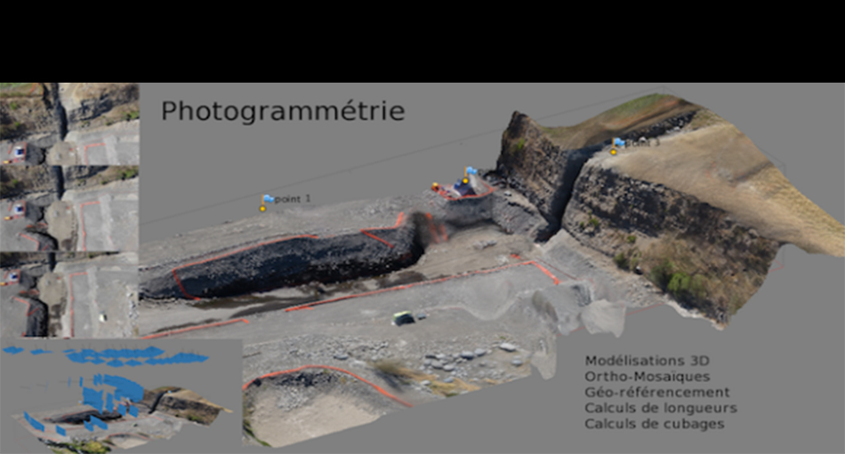 Drone Tech performs photogrammetry, site monitoring, 3D modeling, orthophotos, distances, areas, cubing. Reunion Island. 97424.