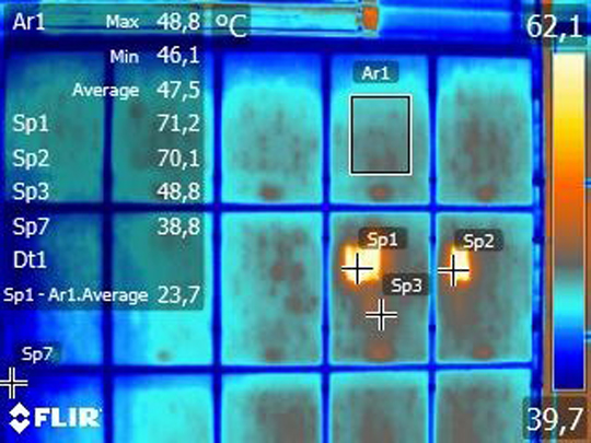 Infrared thermography on photovoltaic panels.